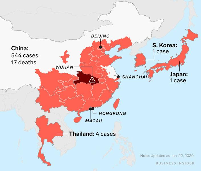 wuhan virus map v02(updated as of jan 22)