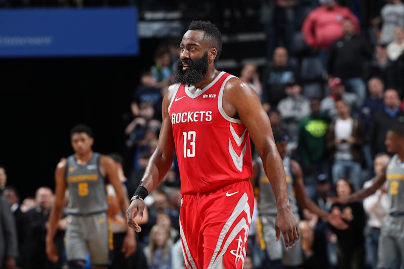 MEMPHIS, TN - MARCH 20: James Harden #13 of the Houston Rockets looks on against the Memphis Grizzlies on March 20, 2019 at FedExForum in Memphis, Tennessee. NOTE TO USER: User expressly acknowledges and agrees that, by downloading and or using this photograph, User is consenting to the terms and conditions of the Getty Images License Agreement. Mandatory Copyright Notice: Copyright 2019 NBAE (Photo by Joe Murphy/NBAE via Getty Images)