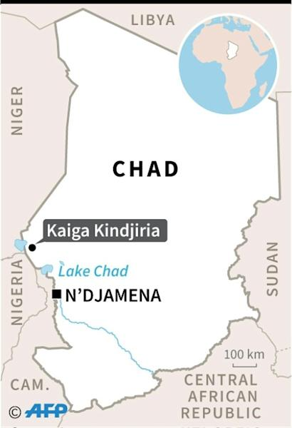 Map of Chad locating the village of Kaiga Kindjiria where civilians were killed by a suicide bomber. (AFP Photo/)