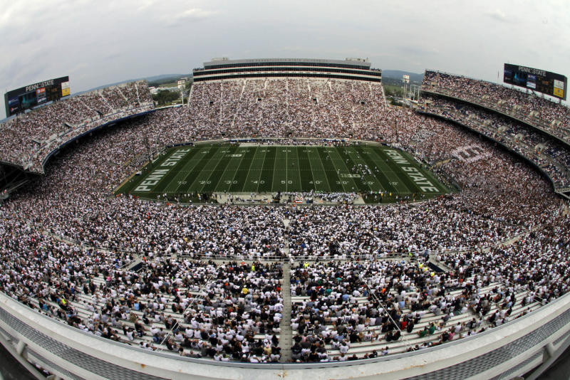 In this overhead view taken with a fisheye lens, Penn State plays Ohio during the third quarter of an NCAA college football game at Beaver Stadium in State College, Pa., Saturday, Sept. 1, 2012. (AP Photo/Gene J. Puskar)