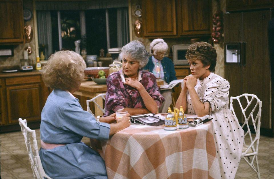 """<p>In a home with four women, you'd think they'd each want a spot at the dinner table. But four chairs just <a href=""""http://mentalfloss.com/article/56215/20-fun-facts-about-golden-girls"""" rel=""""nofollow noopener"""" target=""""_blank"""" data-ylk=""""slk:didn't work for filming"""" class=""""link rapid-noclick-resp"""">didn't work for filming</a> (they'd have to awkwardly squeeze to all be on camera). If all of the women needed to be sitting, one would perch on a tall stool by the island.</p>"""