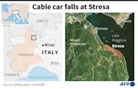 Map locating the Italian town of Stresa where a cable car plunged to the ground killing 13 people