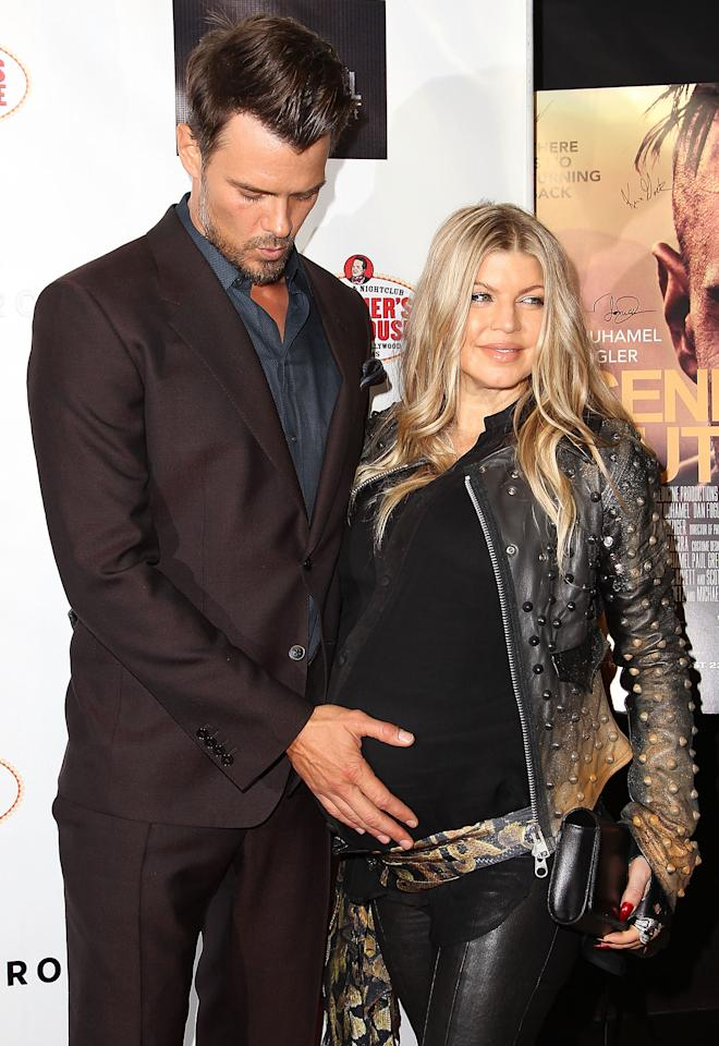 "HOLLYWOOD, CA - AUGUST 20:  (L-R) Josh Duhamel and Fergie Duhamel arrive to the ""Scenic Route"" Los Angeles Premiere at Chinese 6 Theater Hollywood on August 20, 2013 in Hollywood, California.  (Photo by Jonathan Leibson/WireImage)"
