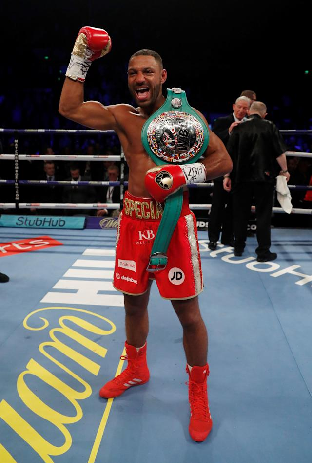 Boxing - Kell Brook vs Sergey Rabchenko - Sheffield, Britain - March 3, 2018 Kell Brook celebrates with the belt after winning the fight Action Images via Reuters/Andrew Couldridge