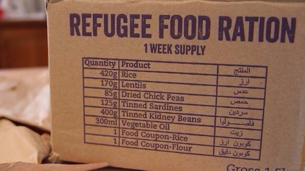 Ration packs are sent to participants, resembling the food received by Syrian refugees. Source: Supplied