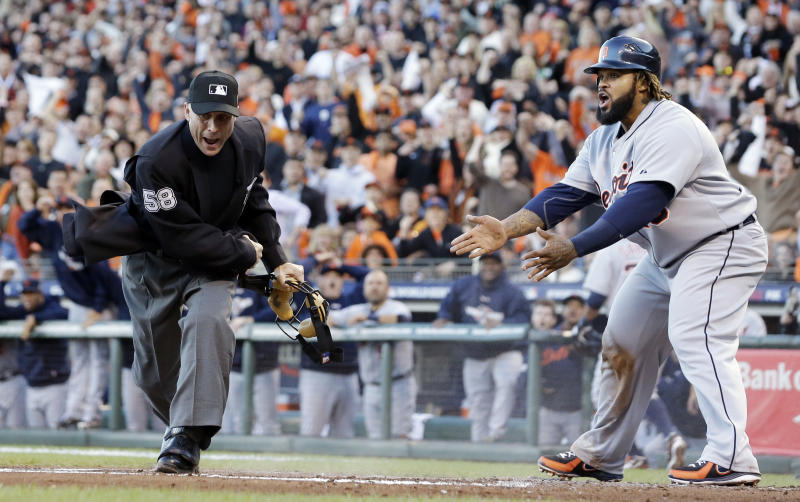 Detroit Tigers' Prince Fielder reacts as home plate umpire Dan Iassogna calls him out on a play at the plate during the second inning of Game 2 of baseball's World Series against the San Francisco Giants Thursday, Oct. 25, 2012, in San Francisco. (AP Photo/David J. Phillip)