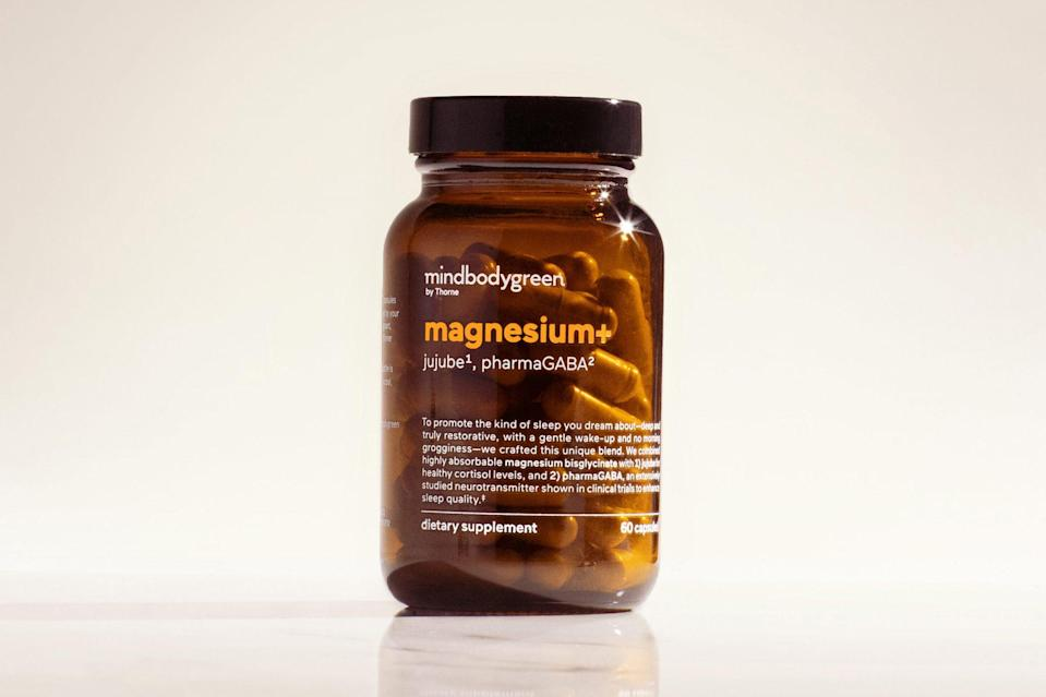 """<p>Doctors applaud magnesium as a <a href=""""https://www.psychologytoday.com/us/blog/sleep-newzzz/201805/what-you-need-know-about-magnesium-and-your-sleep"""" rel=""""nofollow noopener"""" target=""""_blank"""" data-ylk=""""slk:natural sleep aid"""" class=""""link rapid-noclick-resp"""">natural sleep aid</a> that can also help ease anxiety, protect metabolic health and safeguard the heart and bones.</p> <p>You can't overdo it on magnesium-rich foods like dark leafy greens, nuts and whole grains, but you can overdose on magnesium supplements, according to the Mayo Clinic. Check your multivitamin and antacid medicines for magnesium so you <a href=""""https://www.webmd.com/diet/supplement-guide-magnesium#1"""" rel=""""nofollow noopener"""" target=""""_blank"""" data-ylk=""""slk:don't overdo it."""" class=""""link rapid-noclick-resp"""">don't overdo it.</a> The <a href=""""https://www.hsph.harvard.edu/nutritionsource/magnesium/"""" rel=""""nofollow noopener"""" target=""""_blank"""" data-ylk=""""slk:Recommended Dietary Allowance"""" class=""""link rapid-noclick-resp"""">Recommended Dietary Allowance</a> for adults is 400-420 mg daily for men and 310-320 mg for women.</p> <p>However, many Americans don't get enough magnesium, so it could be worth bringing up to your doctor.</p> <p><a href=""""https://shop.mindbodygreen.com/products/magnesium?utm_source=google&utm_medium=cpc&utm_campaign=WITHIN_Brand_Supplements&gclid=CjwKCAiA2O39BRBjEiwApB2Ikm8vRtemHQzvo_wEBht5c2oG6U90Q_3vLDai_w7XwdKWRilttvh5xhoC1DgQAvD_BwE"""" rel=""""nofollow noopener"""" target=""""_blank"""" data-ylk=""""slk:mindbodygreen magnesium+, $60"""" class=""""link rapid-noclick-resp"""">mindbodygreen magnesium+, $60</a></p>"""