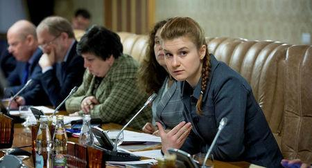 Public figure Maria Butina (R) attends a meeting of a group of experts, affiliated to the government of Russia, in this undated handout photo obtained by Reuters on July 17, 2018. Press Service of Civic Chamber of the Russian Federation/Handout via REUTERS