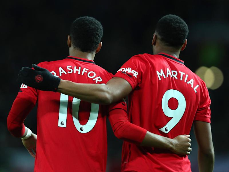 Manchester United forwards Marcus Rashford and Anthony Martial: Getty