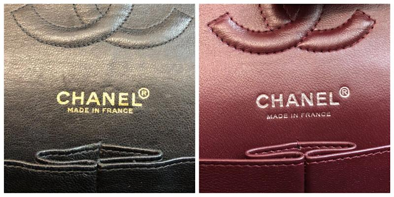 The letter 'R' in the circle of a real bag's stamping, at left, appears bolder in comparison to the 'R' of the fake at right.