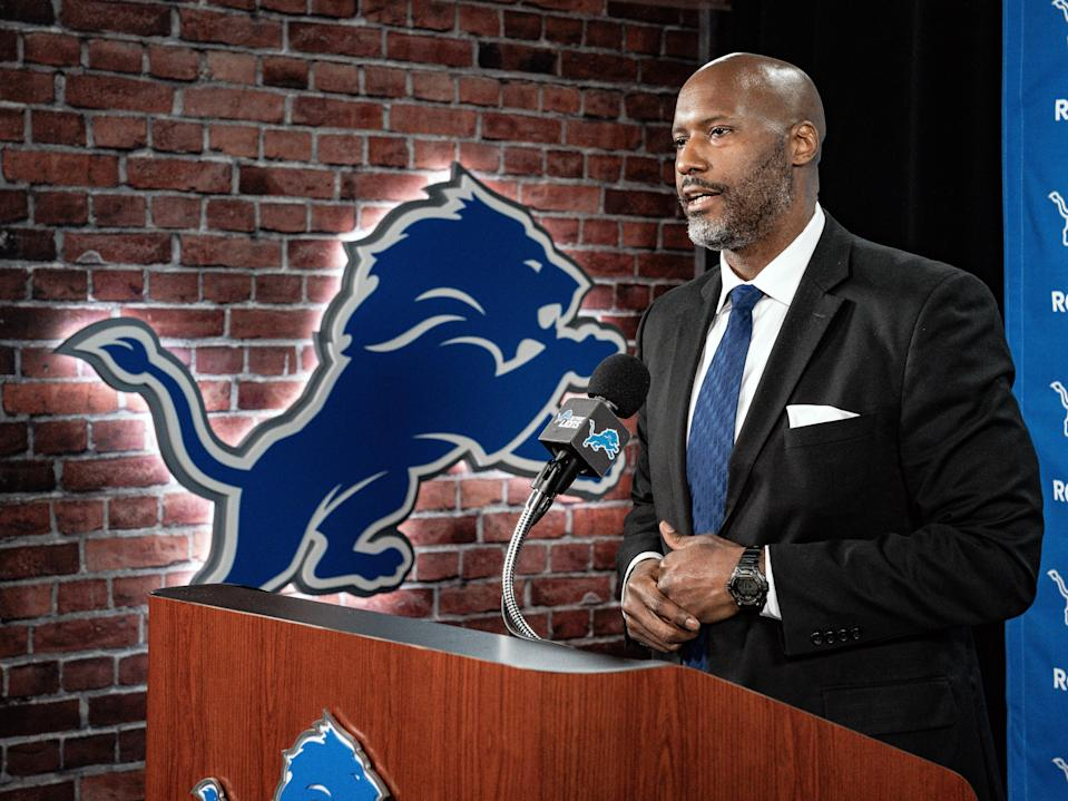 Lions general manager Brad Holmes speaks to the media on Tuesday, Jan. 19, 2021, in Allen Park.
