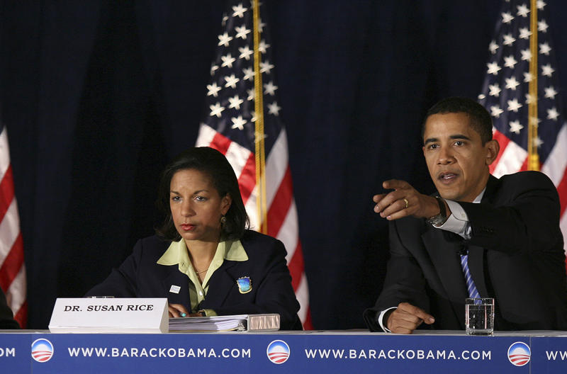 In this file photo of Dec. 18, 2007, then-Democratic presidential hopeful, Sen. Barack Obama, D-Ill., right, takes a question from the audience at a foreign policy forum in Des Moines, Iowa, joined at left by former Assistant Secretary of State Susan Rice who served in the Clinton administration. (Kevin Sanders/AP Photo)
