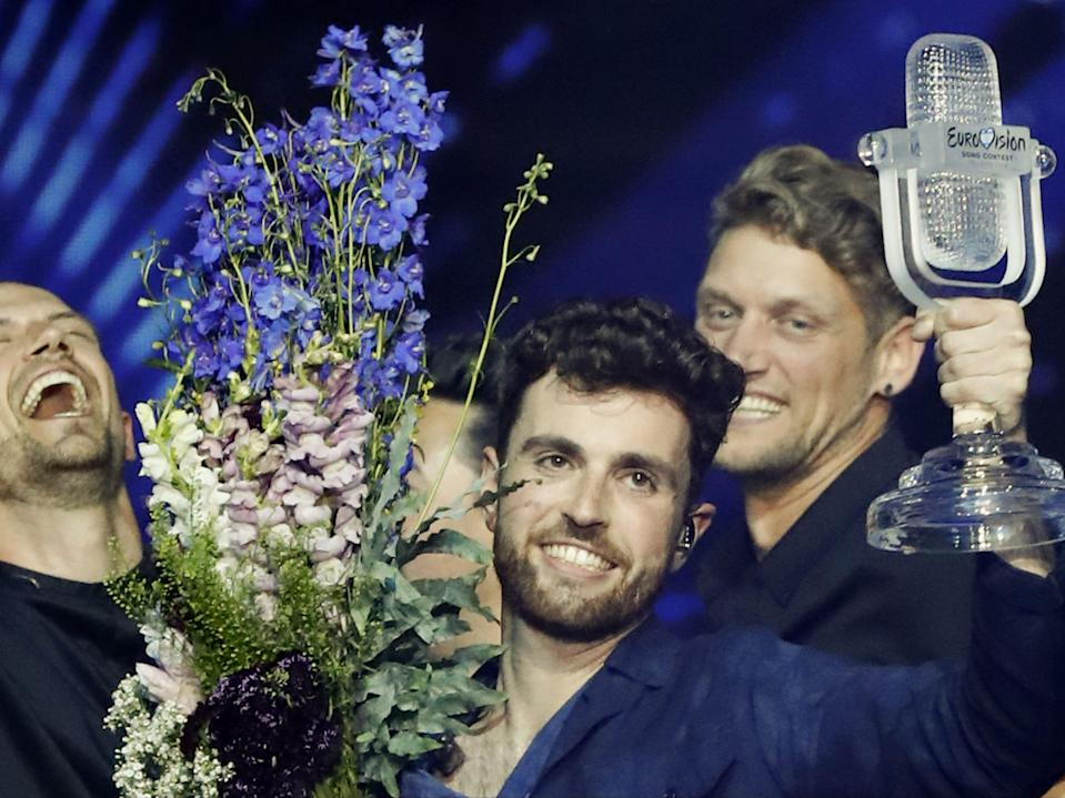 Duncan Laurence winning the 64th edition of Eurovision in 2019AFP via Getty Images