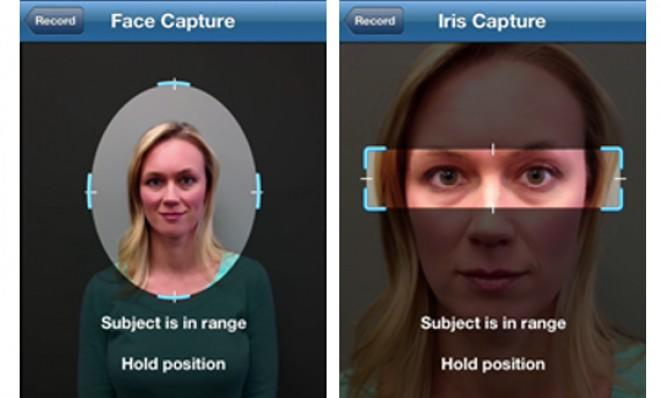 The app can be used for iris, face, fingerprint, and voice biometric capture.