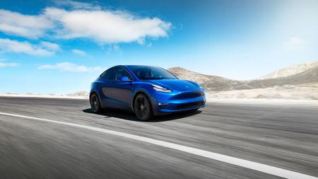 Tesla Inc's Model Y electric sports utility vehicle is pictured in this undated handout photo released on March 14, 2019. Tesla Motors/Handout via Reuters