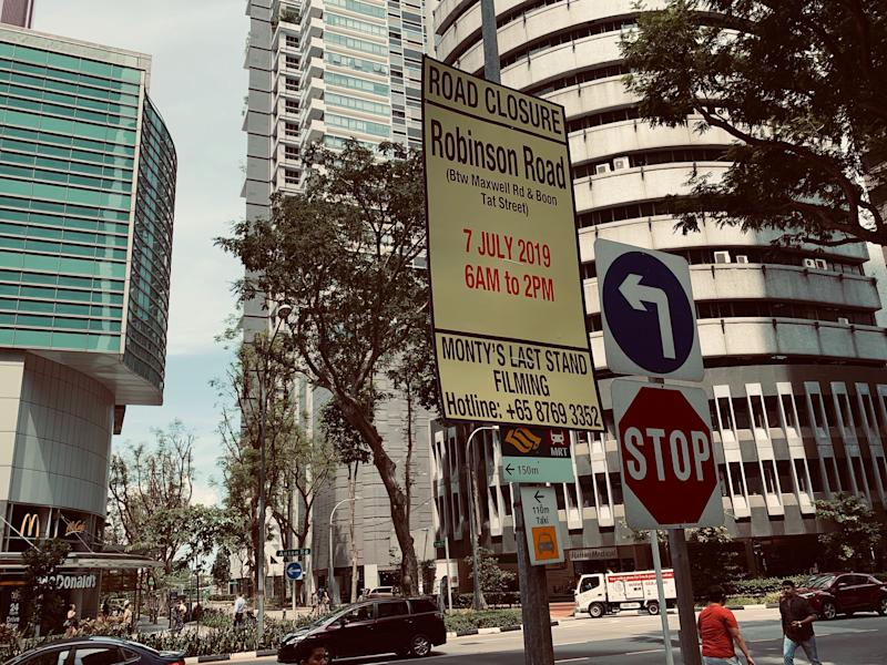 "A sign at the junction of Anson Road and Gopeng Street in Singapore on 28 June 2019, which says that Robinson Road will be closed between Maxwell Road and Boon Tat Street to film ""Monty's Last Stand"", which is the production code name for ""Westworld"" season three. (PHOTO: Teng Yong Ping/Yahoo Lifestyle Singapore)"