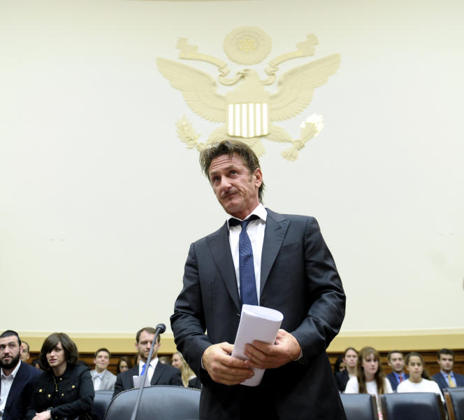 "Academy Award-winning actor Sean Penn arrives on Capitol Hill in Washington, Monday, May 20, 2013, to testify before the House subcommittee on Africa, Global Health, Global Human Rights, and International Organizations hearing on Advocating for American Jacob Ostreichers Freedom after two years in Bolivian detention. Ostreicher was arrested in June 2011 by Bolivian police after it was alleged that he did business with ""people wanted in their countries because of links with drug trafficking and money laundering."" (AP Photo/Susan Walsh)"