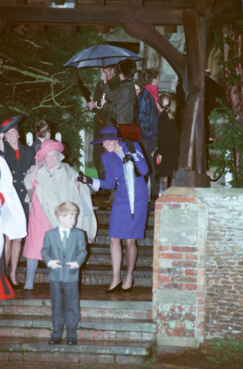 The Princess of Wales, Princess Diana, at Sandringham on a very windy Christmas Day 1990. (Kent Gavin/Mirrorpix/Getty Images)