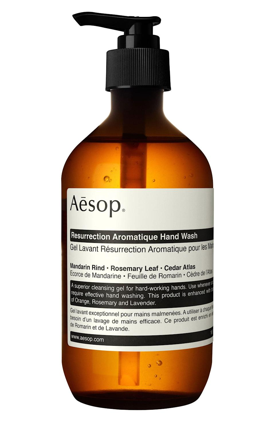 """<p><strong>AESOP</strong></p><p>nordstrom.com</p><p><strong>$39.00</strong></p><p><a href=""""https://go.redirectingat.com?id=74968X1596630&url=https%3A%2F%2Fwww.nordstrom.com%2Fs%2Faesop-resurrection-aromatique-hand-wash%2F4365918&sref=https%3A%2F%2Fwww.harpersbazaar.com%2Fbeauty%2Fskin-care%2Fg33545040%2Fbest-hand-soap%2F"""" rel=""""nofollow noopener"""" target=""""_blank"""" data-ylk=""""slk:Shop Now"""" class=""""link rapid-noclick-resp"""">Shop Now</a></p><p>This cleansing gel smells fresh and sophisticated thanks to rosemary leaf, orange, and cedar. It's the kind you'll want to keep by your kitchen sink and buy over and over again.</p>"""