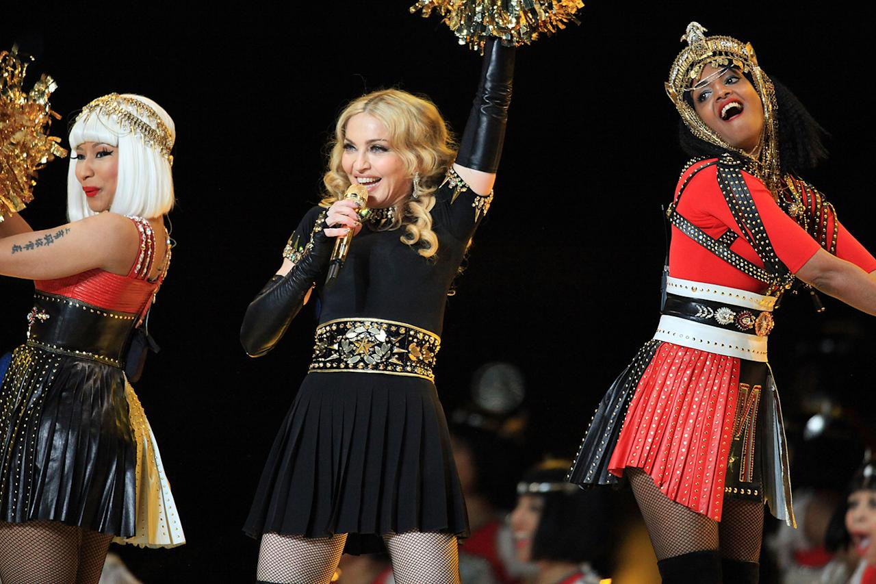 Nicki Minaj, Madonna and MIA perform during the Bridgestone Super Bowl XLVI Halftime Show at Lucas Oil Stadium on February 5, 2012 in Indianapolis, Indiana.  (Photo by Christopher Polk/Getty Images)