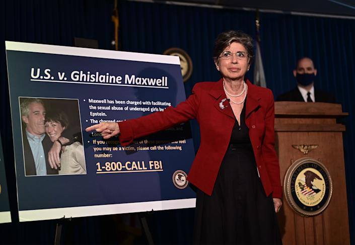 Acting US Attorney for the Southern District of New York, Audrey Strauss, announces charges against Ghislaine Maxwell during a July 2, 2020, press conference in New York City. - Maxwell, the former girlfriend of late financier Jeffrey Epstein, was arrested in the United States on July 2, 2020, by FBI officers investigating his sex crimes, multiple US media outlets reported. (Photo by Johannes EISELE / AFP) (Photo by JOHANNES EISELE/AFP via Getty Images)