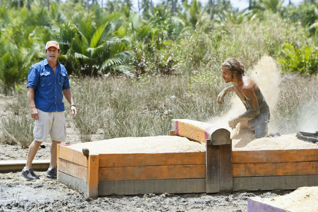 """Zipping Over the Cuckoo's Nest"" - Jeff Probst watches as Malcolm Freberg competes in the Reward Challenge during the tenth episode of ""Survivor: Caramoan - Fans vs. Favorites."""