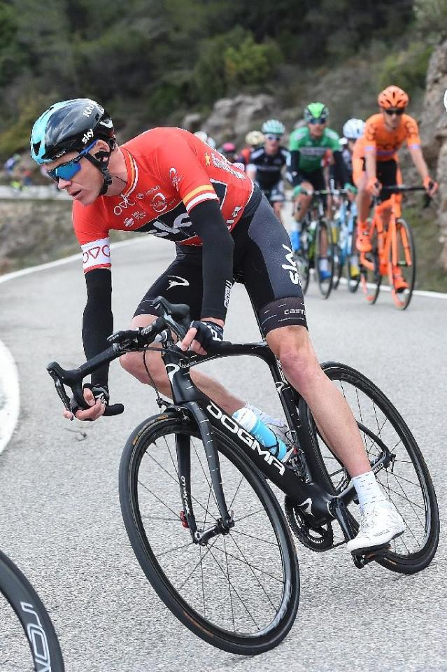 Sky's British rider Christopher Froome rides on the sixth stage of the 97th Volta Catalunya 2017 a 189,7km from Tortosa to Reus, in Bot on March 25, 2017 (AFP Photo/Josep LAGO)