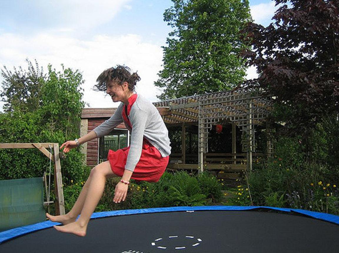 "<p>Sure you might wet yourself but it's a super fun way to do it. Most kids have a trampoline rusting away in their back garden. If you've got kids or you've got mate's with kids or you know a kid down your street who's got a trampoline, kick them off it and get jumping. Trampolining is fast way of building muscle and burning fat so go ahead and wet yourself. </p><p><i>[Photo: <a href=""https://www.flickr.com/photos/outside-context/"" title=""Go to Chris Mullany's photostream"">Chris Mullany</a>/Flickr]<br /></i></p>"