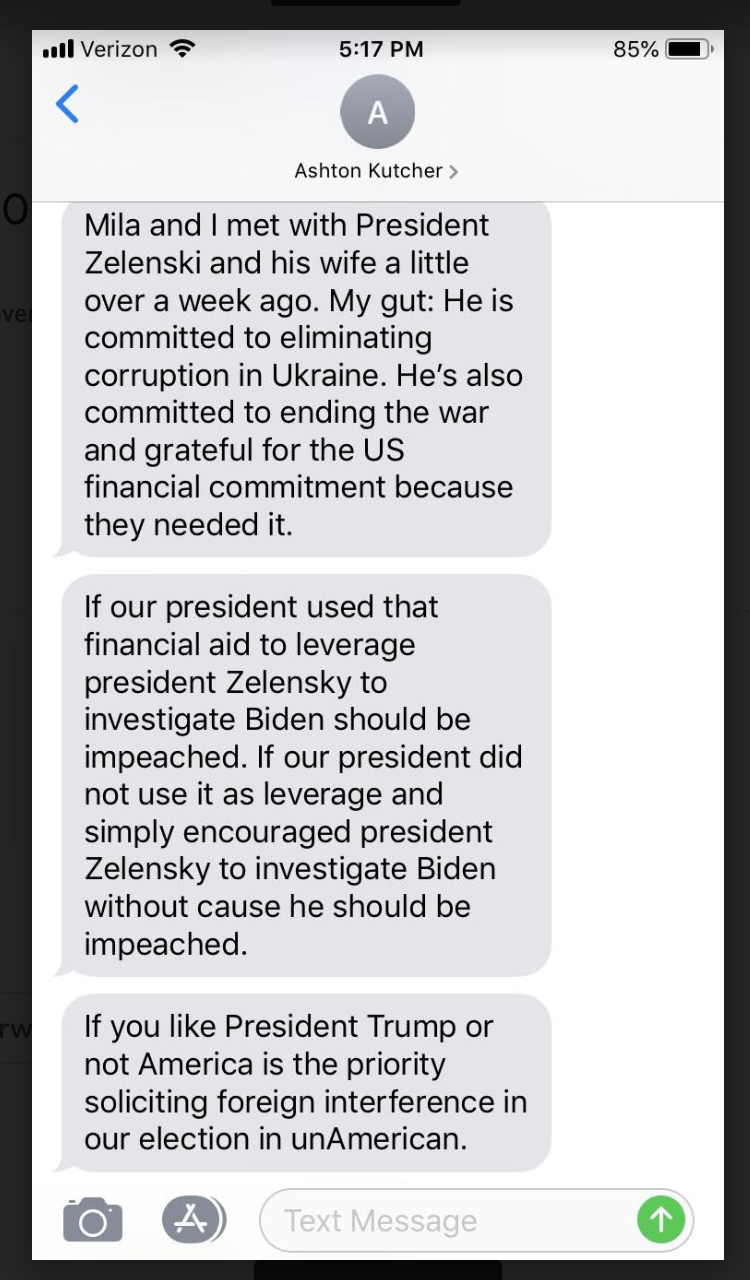 Ashton Kutcher sent this text message about impeachment of President Trump. (Photo: Yahoo Entertainment)