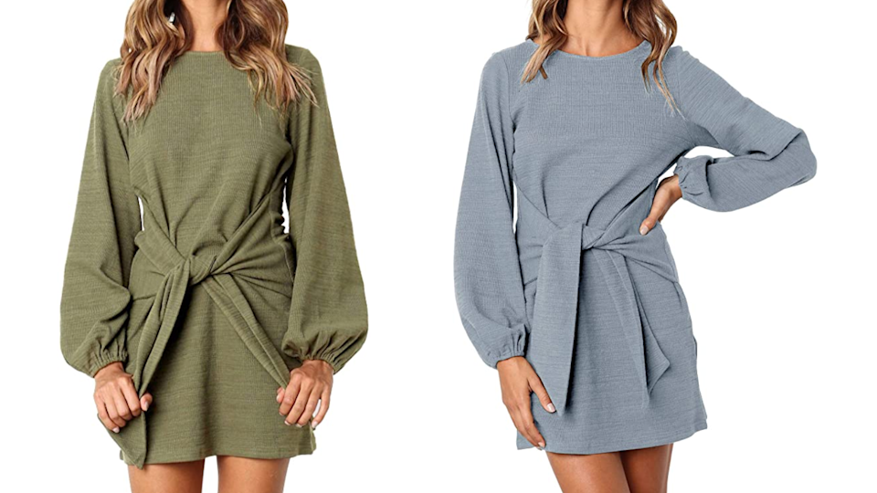 A warm sweater dress is a staple for your fall and winter wardrobe.