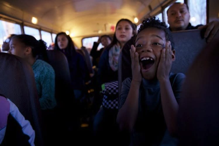 7-year-old Reginald Reedy reacts to news she'll be shopping with Damian Lillard -- Bruce Ely/The Oregonian