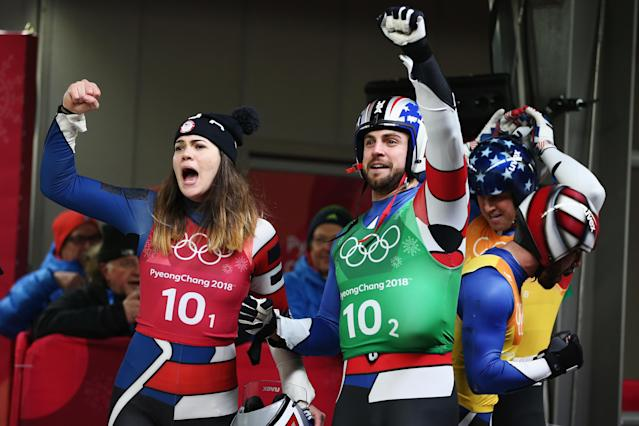 Members of the U.S. luge relay team were oh so close to medaling in PyeongChang. (Getty)