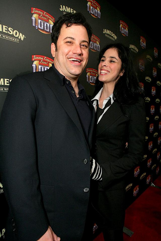 "Jimmy Kimmel and his lady love, funnywoman Sarah Silverman, celebrate the talk show host's 1000th episode at a Jameson-hosted party at Hollywood's Roosevelt hotel. Alexandra Wyman/<a href=""http://www.wireimage.com"" target=""new"">WireImage.com</a> - April 3, 2008"