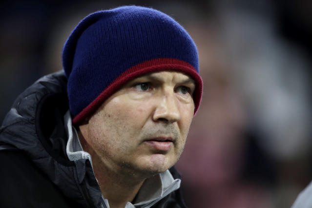 Bologna's head coach Sinisa Mihajlovic watches from the bench during of a Serie A soccer match between Juventus and Bologna, at the Allianz stadium in Turin, Italy, Saturday, Oct.19, 2019. (AP Photo/Luca Bruno)
