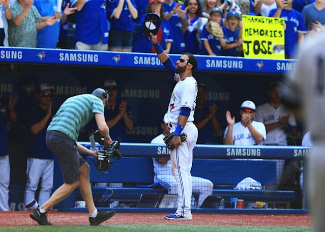 <p>The 2017 season ended on an emotional note, as longtime Blue Jay Jose Bautista bid farewell to Toronto. (Photo by Vaughn Ridley/Getty Images) </p>