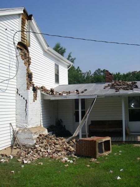 A fallen chimney in Louisa County, Va., caused by the 5.8-magnitude earthquake that hit eastern Virginia on Aug. 23, 2011.