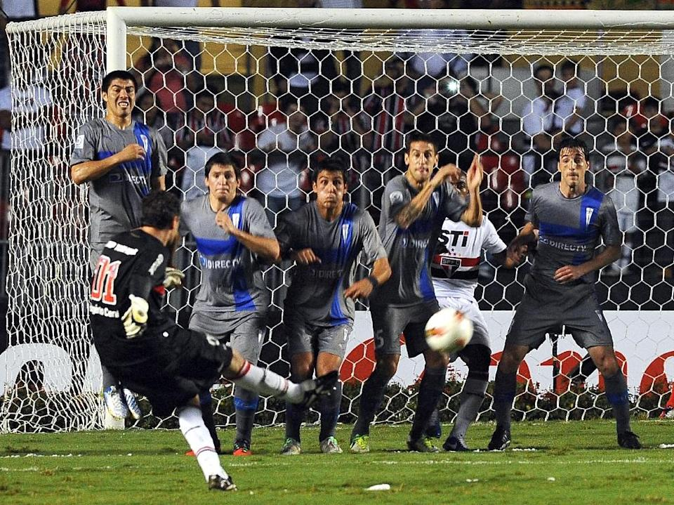 Ceni, who was Sao Paulo's go-to man for free kicks and penalties, scored 131 goals in his 25-year professional career -- far more than any other keeper. AFP PHOTO / Nelson ALMEIDA (AFP Photo/NELSON ALMEIDA)