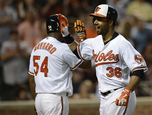 Baltimore Orioles' Chris Dickerson (36) reacts with teammate Yamaico Navarro after Dickerson hit a home run against the New York Yankees during the fifth inning of a baseball game, Tuesday, May 21, 2013, in Baltimore. (AP Photo/Nick Wass)