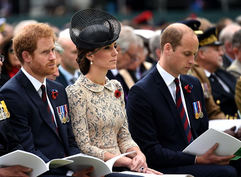 Prince Harry sits with his brother and sister-in-law during a commemoration of the Battle of the Somme in July 2016. (Pool via Getty Images)