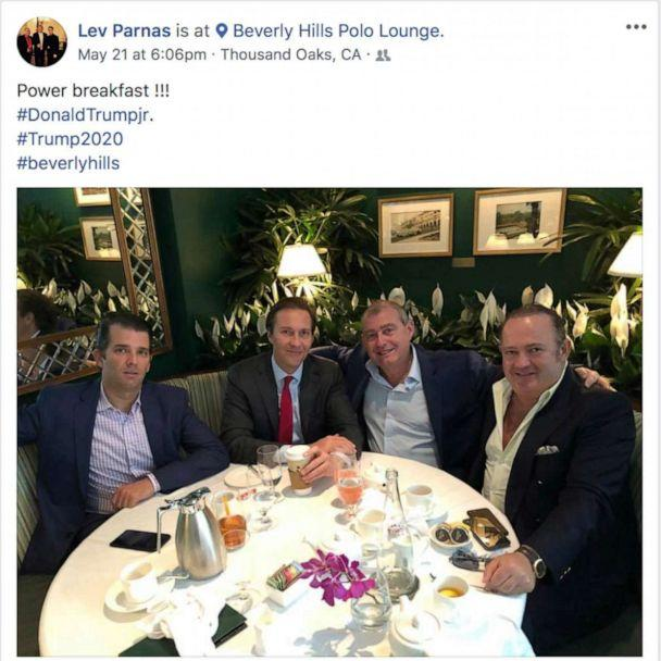 PHOTO: This Facebook screen shot provided by The Campaign Legal Center, shows from left, Donald Trump, Jr., Tommy Hicks, Jr., Lev Parnas and Igor Fruman, posted on May 21, 2018. (The Campaign Legal Center via AP)