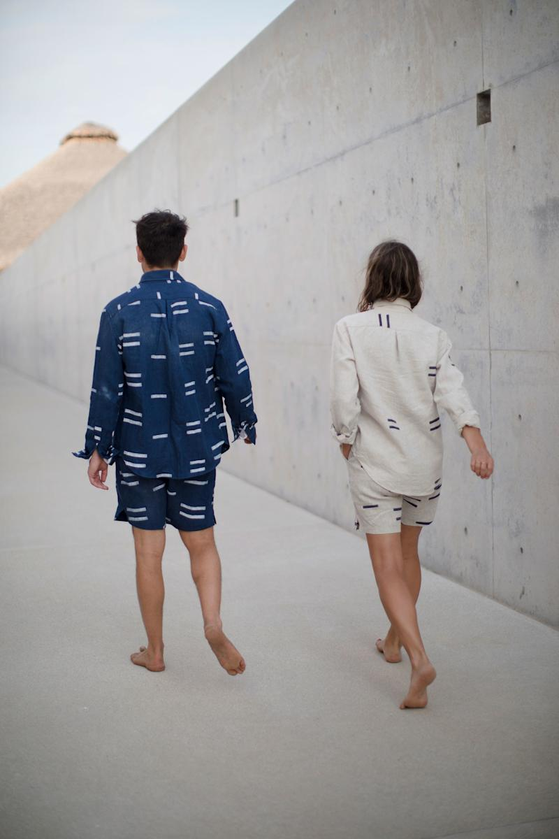We collaborated on an outfit for the weekend: my textiles hand-block–printed on his shirts and shorts.