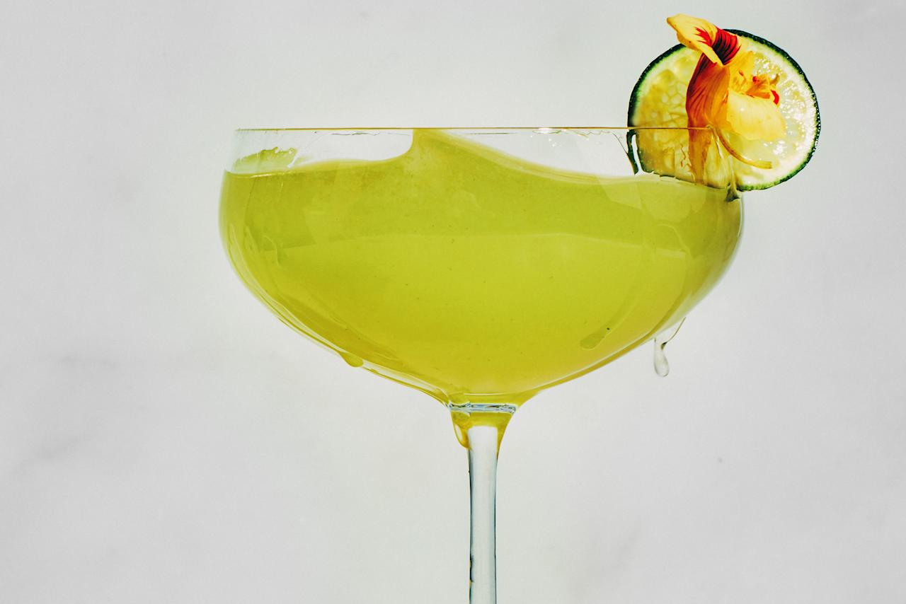 """This spin on the gimlet uses shaved fennel and muddled arugula, which gives it an anise-and-pepper flavor that's ideal for serving with seafood or light pasta dishes. <a href=""""https://www.epicurious.com/recipes/food/views/gin-rocket-fennel-arugula-lime-cocktail?mbid=synd_yahoo_rss"""">See recipe.</a>"""