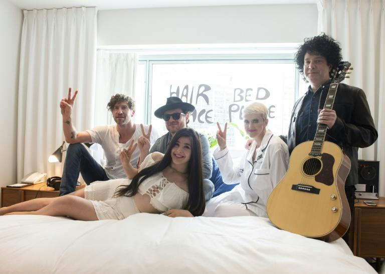 Artists who will be part of the Bed-In for Peace 50th Anniversary Concert (L-R) Jonas Tomalty, Yann Perreau, Miriam Baghdassarian, Genevieve Borne and Dan Georgesco pose for a photo at the Queen Elizabeth Hotel in Montreal, Canada