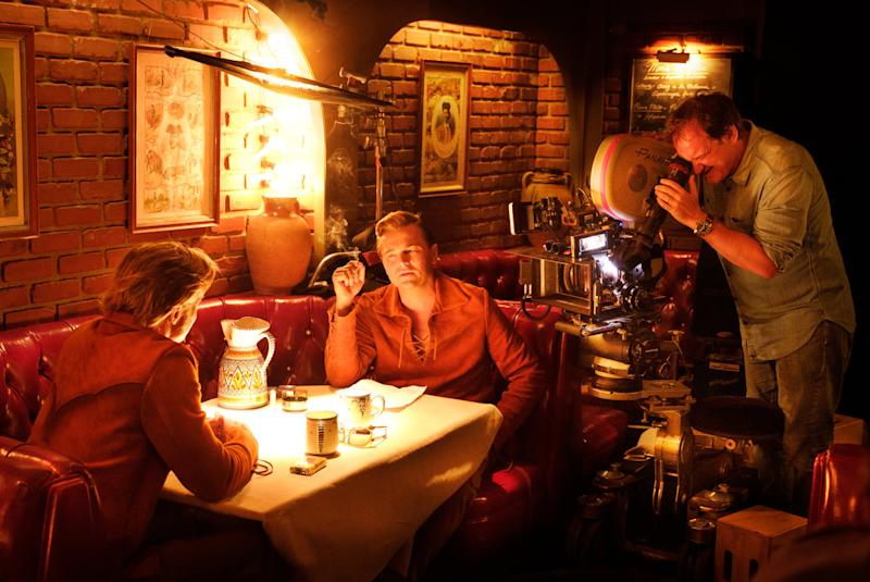 Tarantino directs DiCaprio and Pitt in Once Upon A Time In Hollywood (Credit: Sony)