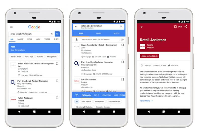 The new job search experience on Google lets you browse jobs on your phone and save them to apply later on a computer (Google)