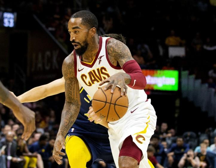 FILE - In this Oct. 8, 2018, file photo, Cleveland Cavaliers guard J.R. Smith dribbles to the basket.
