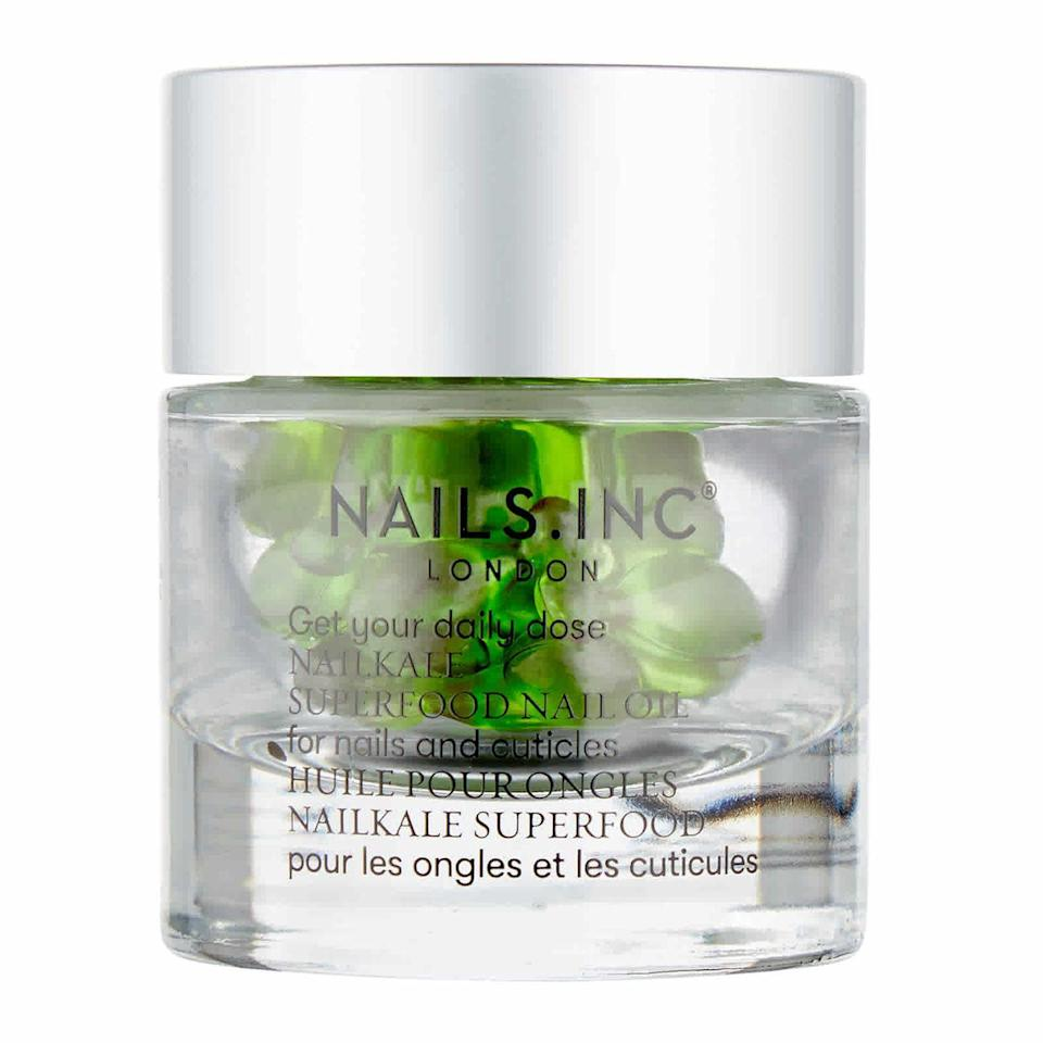 """<p><a class=""""link rapid-noclick-resp"""" href=""""https://go.redirectingat.com?id=127X1599956&url=https%3A%2F%2Fwww.feelunique.com%2Fp%2FNAILSINC-Nale-Kale-Superfood-Oil-Capsules-x-30&sref=https%3A%2F%2Fwww.elle.com%2Fuk%2Fbeauty%2Fskin%2Fg35126645%2Ffresh-faced-skin-beauty-trend%2F"""" rel=""""nofollow noopener"""" target=""""_blank"""" data-ylk=""""slk:SHOP NOW"""">SHOP NOW</a><br><br>The equivalent of a green smoothie for your cuticles, <a href=""""https://go.redirectingat.com?id=127X1599956&url=https%3A%2F%2Fwww.feelunique.com%2Fp%2FNAILSINC-Nale-Kale-Superfood-Oil-Capsules-x-30&sref=https%3A%2F%2Fwww.elle.com%2Fuk%2Fbeauty%2Fskin%2Fg35126645%2Ffresh-faced-skin-beauty-trend%2F"""" rel=""""nofollow noopener"""" target=""""_blank"""" data-ylk=""""slk:Nails Inc NailKale Superfood Nail Oil Capsules - £20"""" class=""""link rapid-noclick-resp"""">Nails Inc NailKale Superfood Nail Oil Capsules - £20</a>, is a nourishing oil to replenish and strengthen fragile tips that have seen one too many manicures. <br></p>"""
