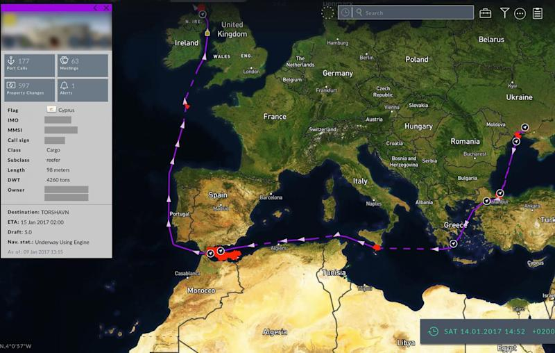 A Cyprus-flagged cargo ship made several 'suspicious stops' while tracking data disappeared off the coast of Algeria before journeying to the Scottish island of Islay (Windward)