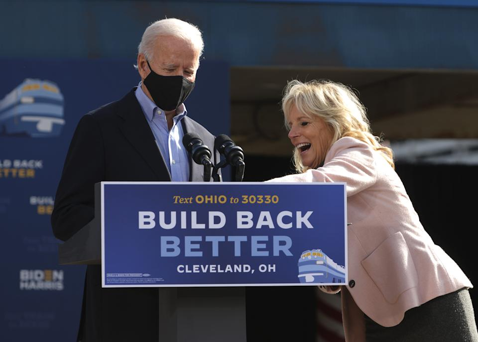 Dr. Jill Biden introduces her husband Democratic U.S. presidential nominee Joe Biden during a campaign event to launch a train campaign tour at Cleveland Amtrak Station September 30, 2020 in Cleveland, Ohio.