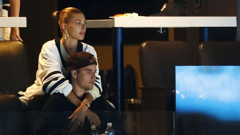 Justin Bieber Cuddles Up to Hailey as He Intensely Watches the Maple Leafs in Game 7 of NHL Playoffs